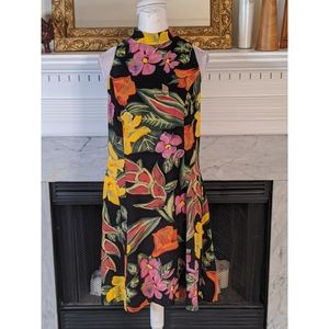 Vintage 90s RJ & Company Black Floral Halter Dress